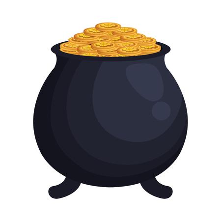 treasure cauldron with coins vector illustration design