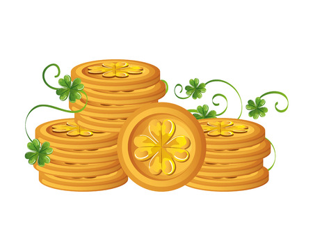 coins pile with clovers leafs vector illustration design 向量圖像