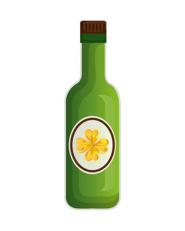 beer bottle with clover vector illustration design