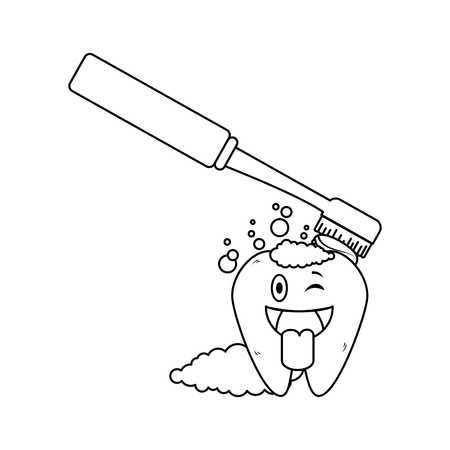 comic tooth with brush kawaii character vector illustration design Illustration