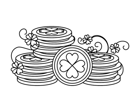 coins pile with clovers leafs vector illustration design Иллюстрация