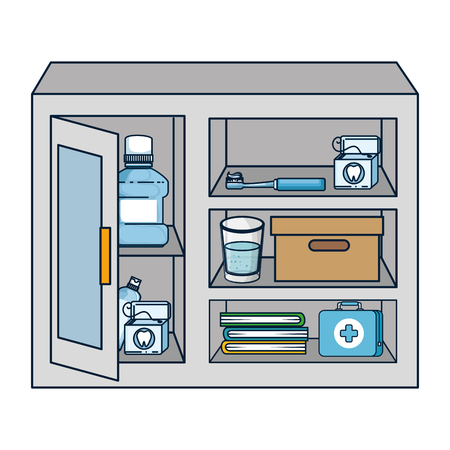 display case with dental hygiene products vector illustration design