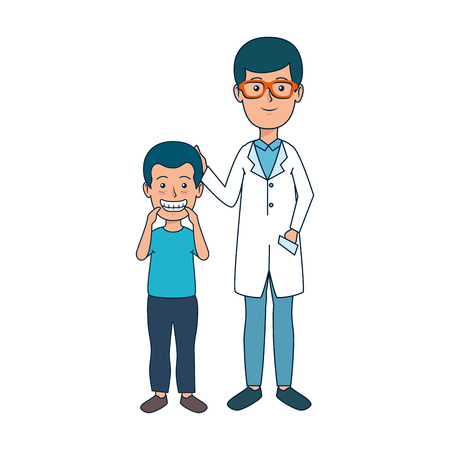 young dentist with boy patient vector illustration design