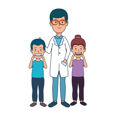 young dentist with kids patient vector illustration design Stock Illustratie