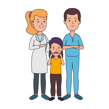 young dentists couple with patient vector illustration design Illustration