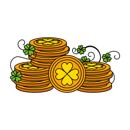 coins pile with clovers leafs vector illustration design Çizim