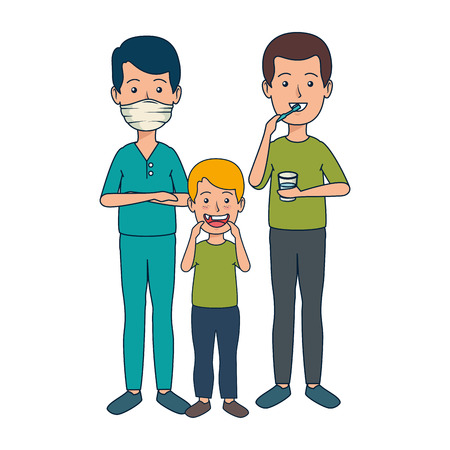 young dentist with patients vector illustration design Illustration