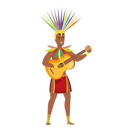 brazilian male dancer playing guitar vector illustration design Illustration