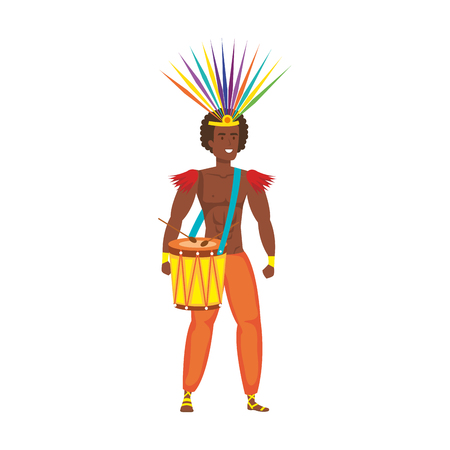 brazilian male dancer playing drum vector illustration design Foto de archivo - 116198259
