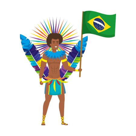 brazilian male dancer waving flag vector illustration design