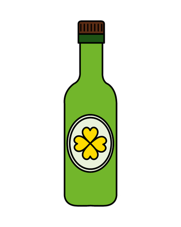 beer bottle with clover vector illustration design