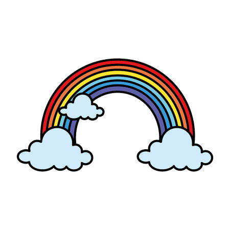 cute rainbow with clouds vector illustration design Çizim
