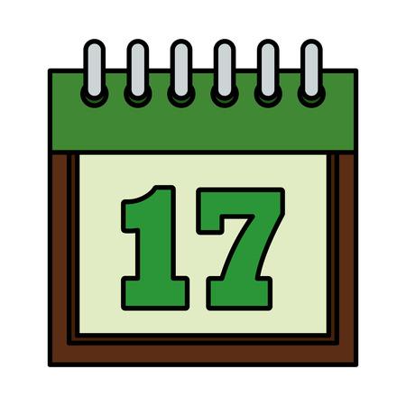 calendar reminder with seventeen day vector illustration design Иллюстрация