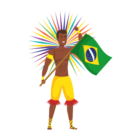brazilian male dancer waving flag vector illustration design Foto de archivo - 125697365