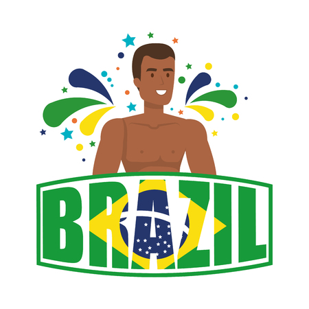 brazilian male dancer with brazil label vector illustration design Foto de archivo - 116234166