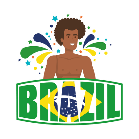 brazilian male dancer with brazil label vector illustration design Foto de archivo - 116234167