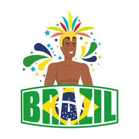 brazilian male dancer with brazil label vector illustration design Foto de archivo - 116234168