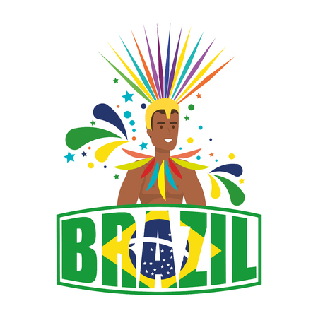 brazilian male dancer with brazil label vector illustration design Standard-Bild - 116234171