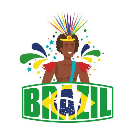brazilian male dancer with brazil label vector illustration design Foto de archivo - 116234179