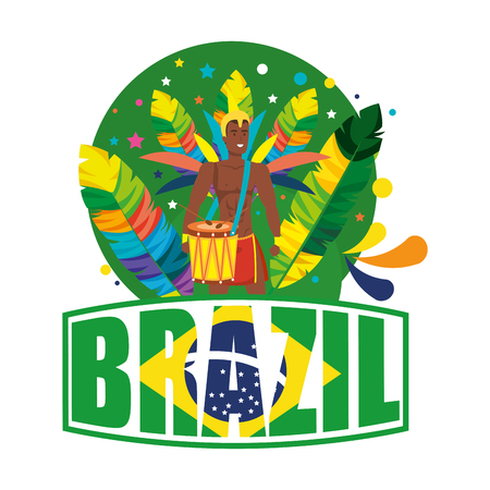 brazilian male dancer with brazil label vector illustration design Foto de archivo - 116234182