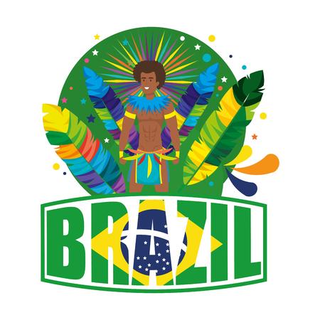 brazilian male dancer with brazil label vector illustration design Foto de archivo - 116234184