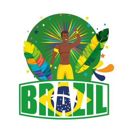 brazilian male dancer with brazil label vector illustration design Foto de archivo - 116234187