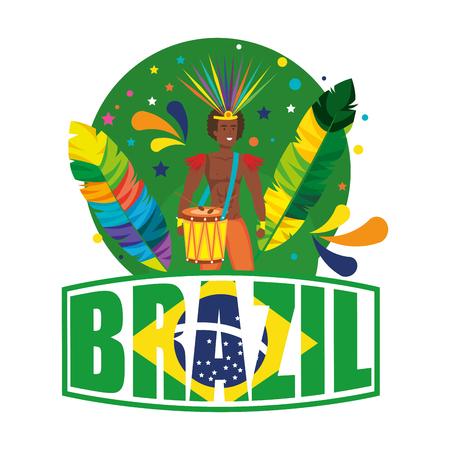 brazilian male dancer with brazil label vector illustration design Foto de archivo - 116234188