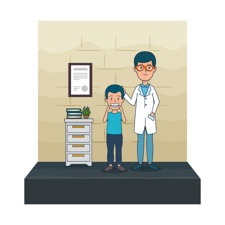 young dentist with boy patient vector illustration design Foto de archivo - 125697378
