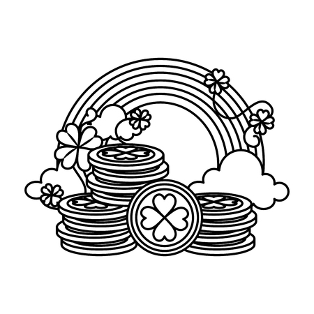 coins pile with clovers leafs and rainbow vector illustration design 向量圖像