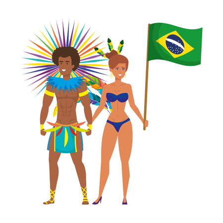 brazilian dancers couple waving flag character vector illustration design