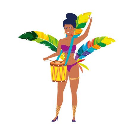 beautiful brazilian garota playing drum vector illustration design