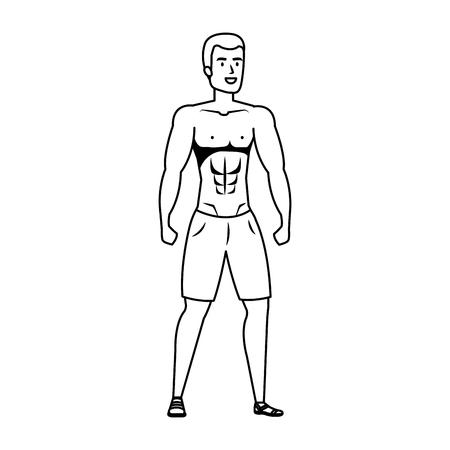young athletic black man character vector illustration design Illustration