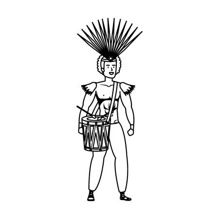 brazilian male dancer playing drum vector illustration design  イラスト・ベクター素材