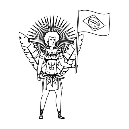brazilian male dancer waving flag vector illustration design Foto de archivo - 125697389