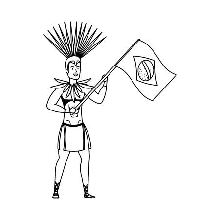 brazilian male dancer waving flag vector illustration design Standard-Bild - 125697390