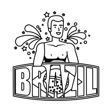 brazilian male dancer with brazil label vector illustration design Foto de archivo - 116235395