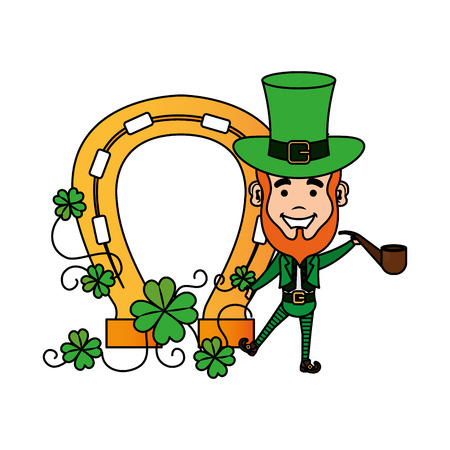 leprechaun withhorseshoe st patrick character vector illustration design Illustration