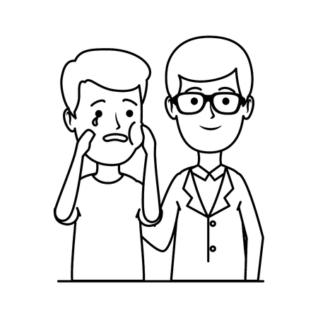 young dentist with patient vector illustration design 向量圖像
