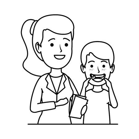 young dentist with boy patient vector illustration design Foto de archivo - 116235593