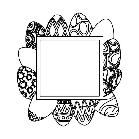 eggs painted happy easter frame vector illustration design