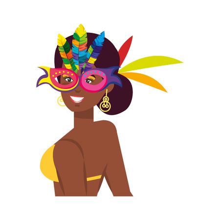 beautiful black brazilian garota character vector illustration design