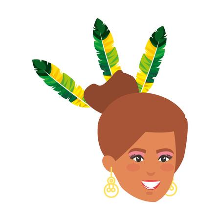 beautiful brazilian garota head character vector illustration design 일러스트
