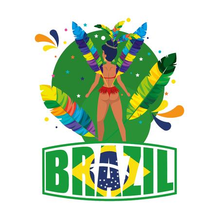 beautiful brazilian garota with brazil label vector illustration design Vektorové ilustrace