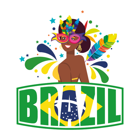 beautiful brazilian garota with brazil label vector illustration design Фото со стока - 116236832