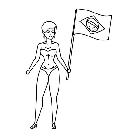 beautiful girls with swimsuit waving brazil flag vector illustration design