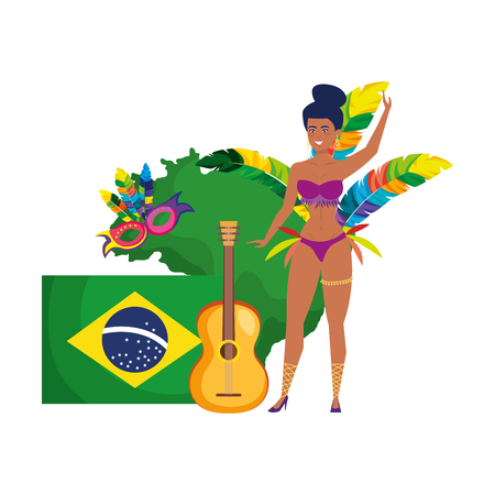 beautiful brazilian garota with flag and guitar vector illustration design