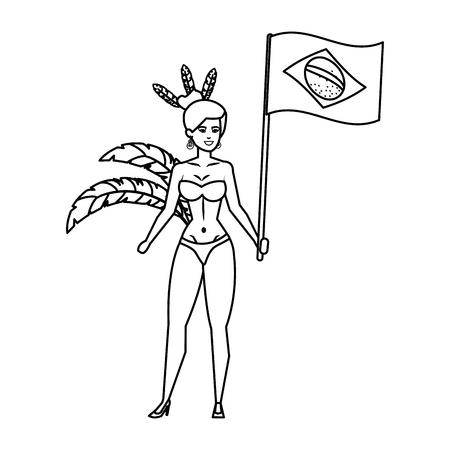 brazilian garota waving brazil flag vector illustration design  イラスト・ベクター素材