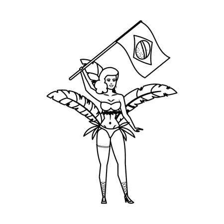 brazilian garota waving brazil flag vector illustration design