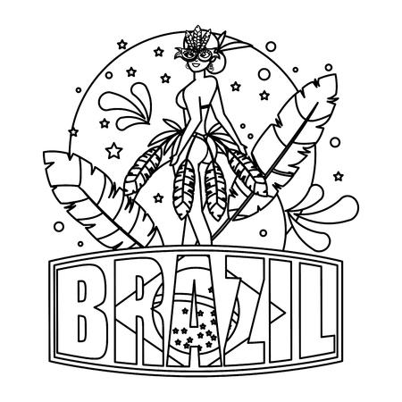 beautiful brazilian garota with brazil label vector illustration design
