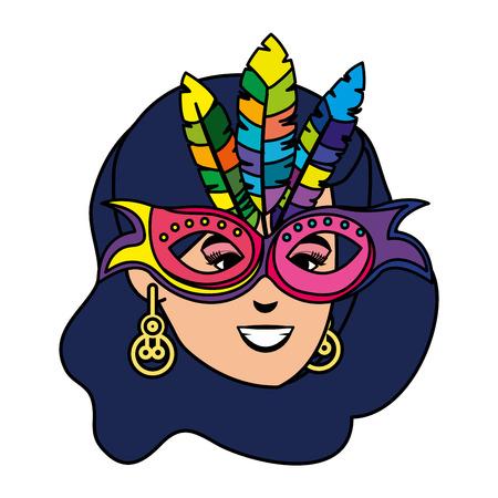 beautiful brazilian garota head character vector illustration design  イラスト・ベクター素材